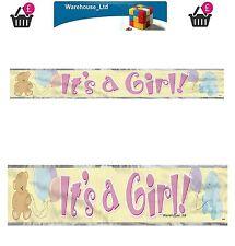 12ft Foil It's a Girl Baby Shower Banner-Brand New