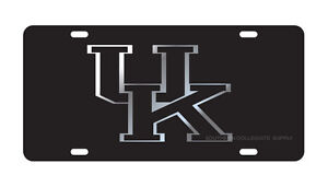 UK KENTUCKY Wildcats Black & Silver Mirrored License Plate / Car Tag