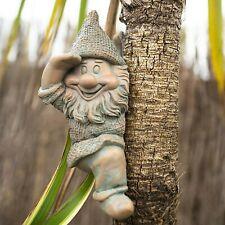 Cheeky Garden Gnome Tree Hugger Garden Ornament Fairy Peeker Outdoor Happy Elf