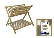 In legno pieghevole Lavandino DISH DRAINER piastre Posate Supporto Rack Nuovo