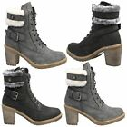 Heidi Womens Mid High Block Heel Grip Sole Ankle Boots Ladies Fur Cuff Shoes New
