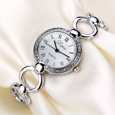 Women Ladies Stainless Steel Bracelet Crystal Round Dial Quartz Wrist Watch New