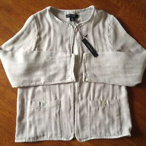 NWT Tahari Womens Linen Blend Jacket Blazer Open Front Lagenlook Tan Size M