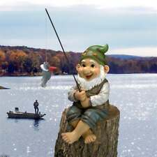Fishing Gnome Statue Lake Pond Cabin Lodge Elf Sitter Sculpture Porch Patio Pool