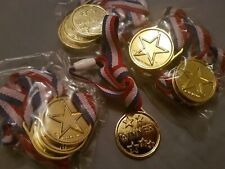 12 Childrens Winner Medals Party Toys Favours New & Unused Gold Bnip Mip New