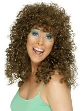 Brown perm perruque long boogie babe 70s 80s accessoires costume robe fantaisie