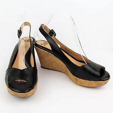 SOFFT Sling Back Sandals Shoes 9.5 M Black Ordelia Leather & Cork Wedge