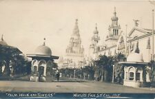 1915 Panama-Pacific Exposition Palm Walk and Towers Real Photo Postcard rppc