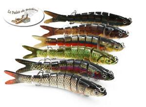 Leurre de pêche articulé -Gardon-Vairon-Truite 8 segments 14 cm 27g- Carnassiers