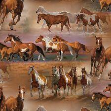 Fabric Horses Mustangs in Open Field on Desert Cotton by the 1/4 yard BIN