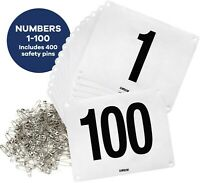 Running Bib Large Numbers with Safety Pins for Marathon Races & Events 6x7.5 In.