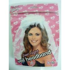 Hen Night Veil On Headband, White - Bride Party Headband Dress Fancy Womens
