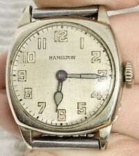 Stunning Midsize Art Deco Hamilton 14k Gold Filled Watch Beads Of Rice Bracelet