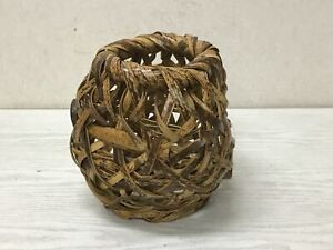 Y2635 FLOWER VASE Bamboo Weaving Japan vintage antique ikebana interior decor