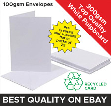 A6/A5 Blank/Plain Greeting/Wedding Invite Cards 300gsm with Envelope. Pre-Scored