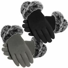 Ladies Touch Screen Compatible Knitted Glove with Faux Fur Cuff GREY/black