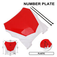 Red Plastic Front Number Plate Universal For Dirt Bike Dual Sport Motorcycle New