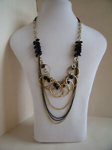 New Long Statement Necklace with Black Beads & Chains & Gold Tone Hoops & Chains