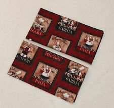 Set of 2 Burgundy Delectable Pasta Chef Child's Play Kitchen Tea Party Napkins