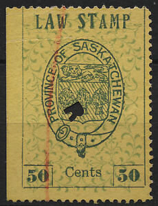 Canada Revenue VanDam # SL5 50c green on yellow Saskatchewan Law - 1st printin
