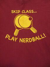 L burgundy red Table Tennis t-shirt - Skip Class Play Nerdball - ping pong