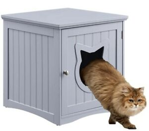 Cat House Side Table, Nightstand Pet House, Litter Box Furniture Indoor - Gray