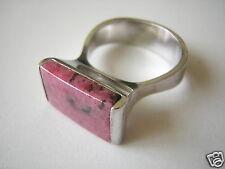 Massiver 800 Silber Ring mit Rhodonit Farbstein 11,0 g / Gr 58