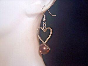 SILVER HEART WITH CHOCOLATE BROWN BEAD HOOK EARRINGS
