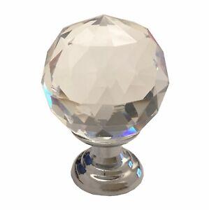 30mm Crystal Glass Door Knobs for Drawer, Cabinet, Furniture, Kitchen Handle