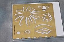 Stampin' Up Classy Brass Template Emboss Daisy, Bee, Leaf, Border edge 2000