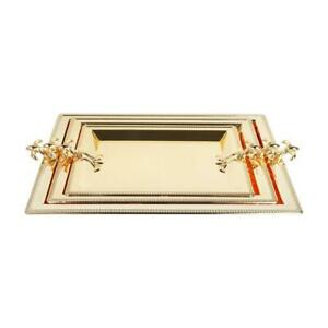 Stainless Steel Decorated Gold Serving Tray Set of 3 50*36 / 43*31/ 36*26 cm