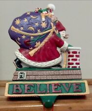 Mary Engelbreit Cast Iron Christmas Stocking Hanger Santa BELIEVE IN SANTA Rare