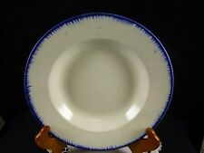 """Leeds Type Blue Feather Edge Pearlware Soup Bowl - Moore Brothers Cobridge - 9"""""""