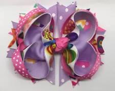 "Pink Purple Easter Eggs Chevron Polka Dot Hair Bow 4 1/4"""