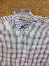 men's BEN SHERMAN (3) Large, Blue Check, Short Sleeve Shirt. Superb