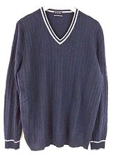 Massimo Dutti Man Knit Sweater Top Vneck Pullover Cashmere/Wool/Silk Navy Blue L