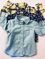 Boys Infant Toddler Crazy 8 Lot Of 3 Button Up Plaid Shirts Size 18-24 Mos EUC