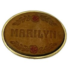 Vtg Hand Tooled Painted Leather MARILYN Personalized Goldtone Belt Buckle