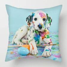 Naughty cute Dalmation puppy dog  Painting rainbow  Cushion Cover  45cm
