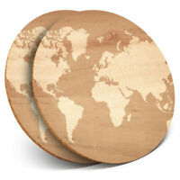 2 x Coasters - Wooden Earth Map Global Travel Home Gift #15943