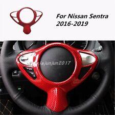 Red Carbon fiber Interior Steering wheel cover trim For Nissan Sentra 2016-2019