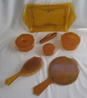 Vtg 11 Piece Art Deco Etched Amber Celluloid Vanity Set ~ Rare ~Nearly Complete