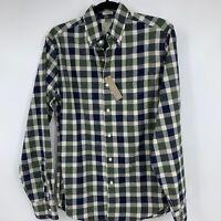 J Crew mens shirt small button down long sleeve plaid slim casual business NEW
