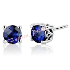 Pretty 2ct Created Sapphire Round Gemstone Earrings In Sterling Silver(925)-- FS