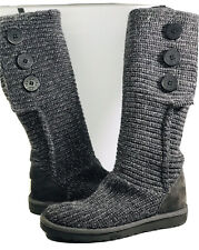 UGG 1876 CARDY GRAY SHIMMER KNIT 3 BUTTON BOOTS PULL ON BOOTS SIZE US 7