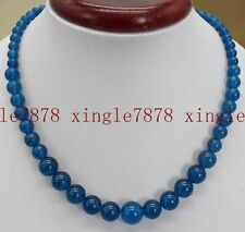 "Natural 6-12mm Ink Blue Apatite Round Gemstone Beads Necklace 18 ""AAA++"