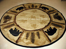 Round Lodge Cabin Rustic Bear Pine Area Rug **FREE SHIPPING**