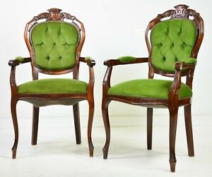 Armchairs, Green, French Style Carved Wood, Set of Two, Charming!