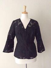 COAST Beautiful Black Jacquard Lace Evening Top/Jacket UK12 Wedding/Formal NEW