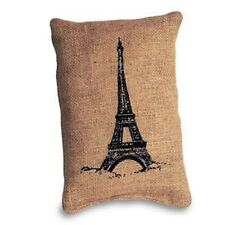 "Pillow -  Small Accent  ""Pillow"" - Eiffel Tower Printed on Burlap - 6"" x 9"""